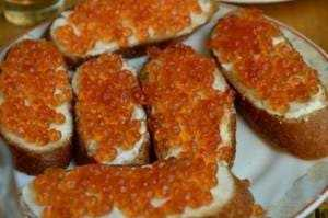Red caviar on bread