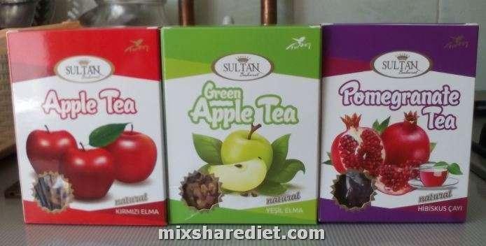 Apple tea. Pomegranate tea. Green apple tea