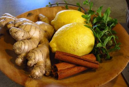 Ginger root, lemon, cinnamon and mint