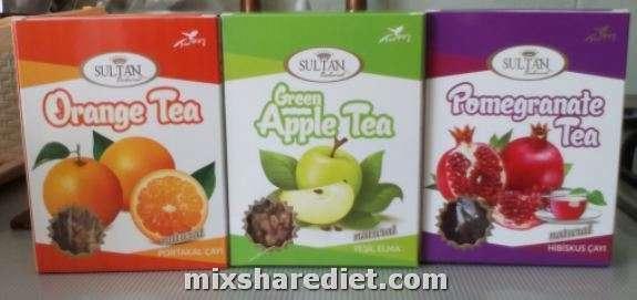 Orange tea. Pomegranate tea. Green apple tea