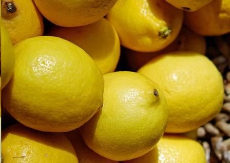 Yellow ripe lemons
