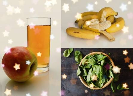 Banana, apple juice and green salad