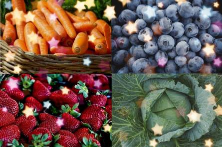 Blueberries, strawberries, kale and carrots