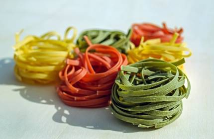 Multicolored noodles