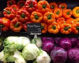 Fresh napa cabbage, pepper and cauliflower