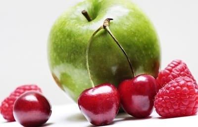 Green apple, cherry and raspberry